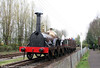 Replica GWR broad gauge Gooch 'Firefly' 2-2-2 in action on the Didcot broad gauge running line on 11th April 2009.