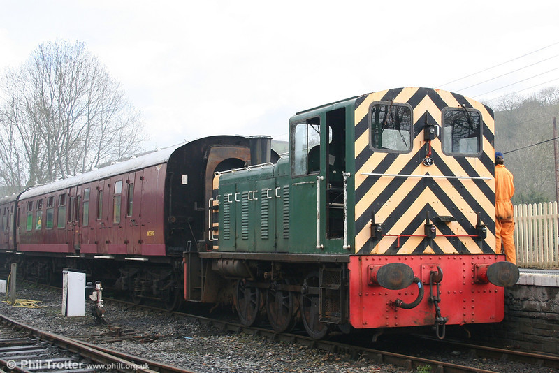 Former BR class 03 0-6-0DM no. D2178 with ecs at Bronwydd Arms, Gwili Railway on 5th April 2008.