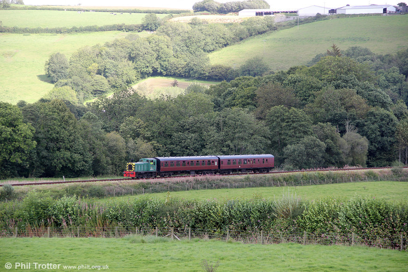 Class 03 0-6-0DM no. D2178 near Cwmdwyfran, Gwili Railway, with the 1605 from Bronwydd Arms on 27th August 2011.