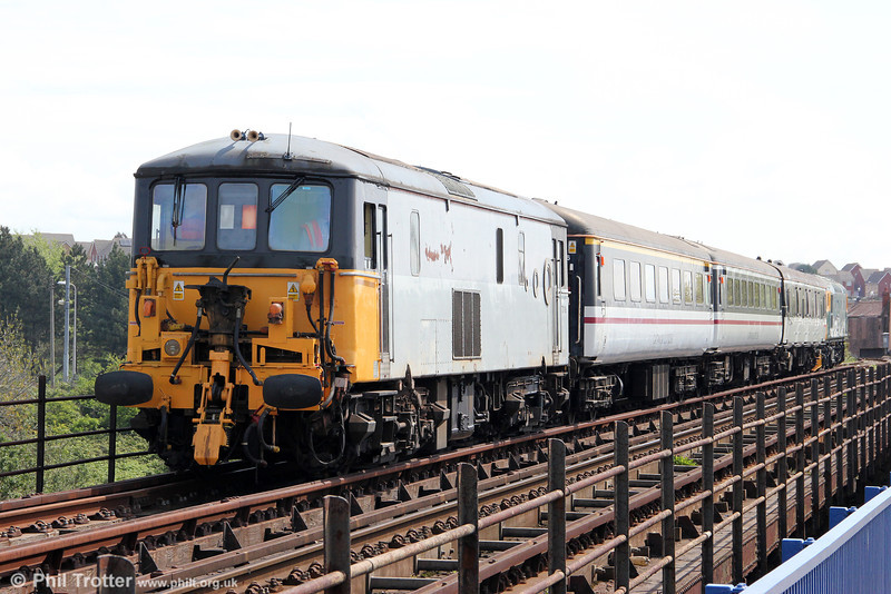 73118 brings up the rear of a train for Barry Island on the causeway from Barry on 6th May 2012.