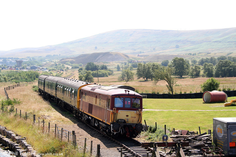 73128 waits at Whistle Inn Halt, P&BR on 26th July 2008 - the first occasion on which the P&BR had operated public trains with a locomotive at the uphill end of the train.