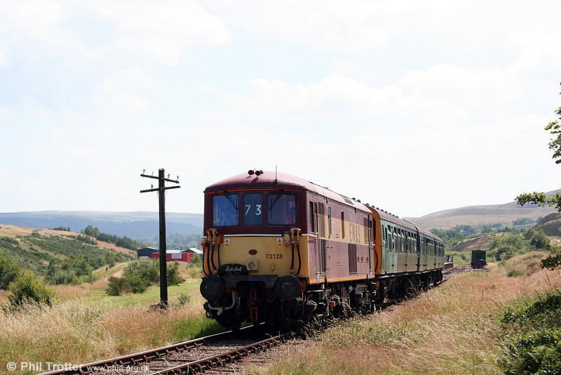 73128 heads uphill from Furnace Sidings, P&BR on 26th July 2008.