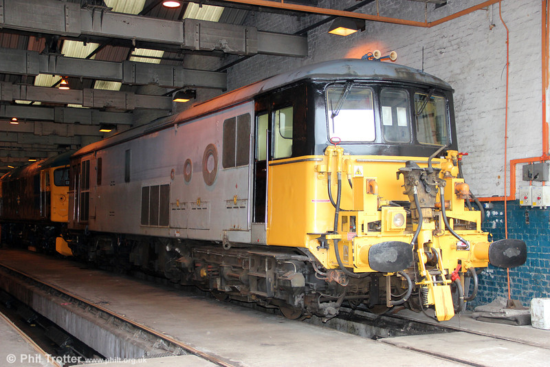 Resident Eurostar class 73 no. 73118 stabled  inside Barry shed on 7th April 2012.