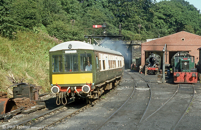 A GRCW Class 100 unit leaves Grosmont, North Yorkshire Moors Railway.