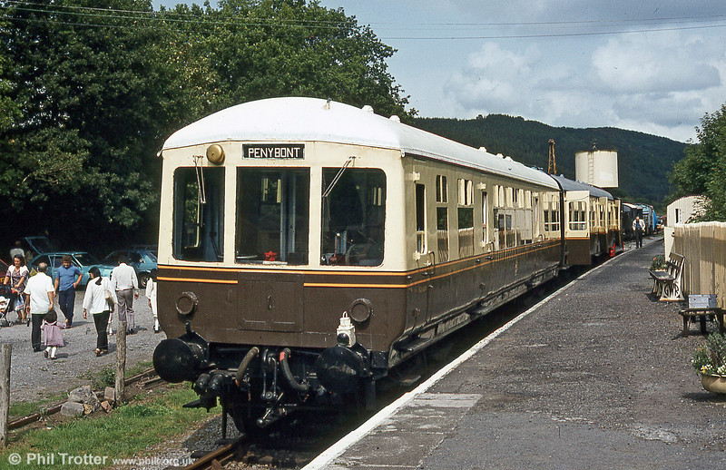 Gloucester RCW class 100 DTCL no. 56317 in a later GWR-style livery at Bronwydd Arms in August 1984.