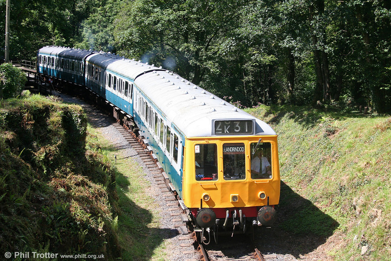 The Gwili Railway's class 117 dmu comprising DMBS 51347, TCL 59508 and DMS 51401 departs from Llwyfan Cerrig on 14th August 2010.