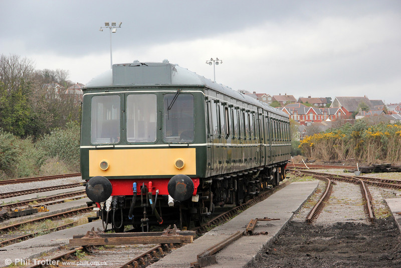 Awaiting a decision on its future, the Class 115 dmu is seen at Barry depot on 7th April 2012.