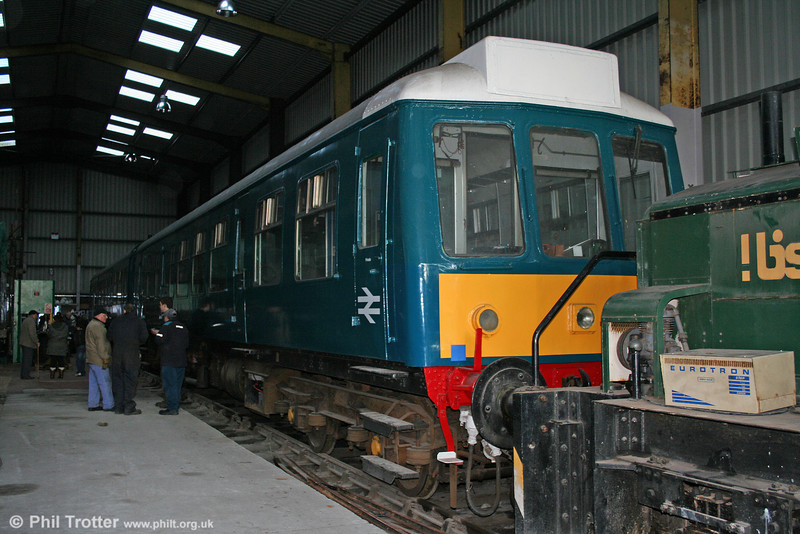Former Barry Island Railway Class 108 (DMC 52048 and DMBS 51919) at Pontycymmer, home of the embryonic Garw Valley Railway on 12th December 2009.