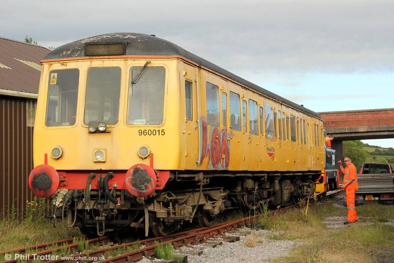 The non-exhaust end of Class 122 single-car unit no W55019 (960015/975042) at the Llanelli & Mynydd Mawr Railway, Cynheidre on 23rd July 2012. The unit has more recently seen use as a sandite unit, based at Aylesbury.