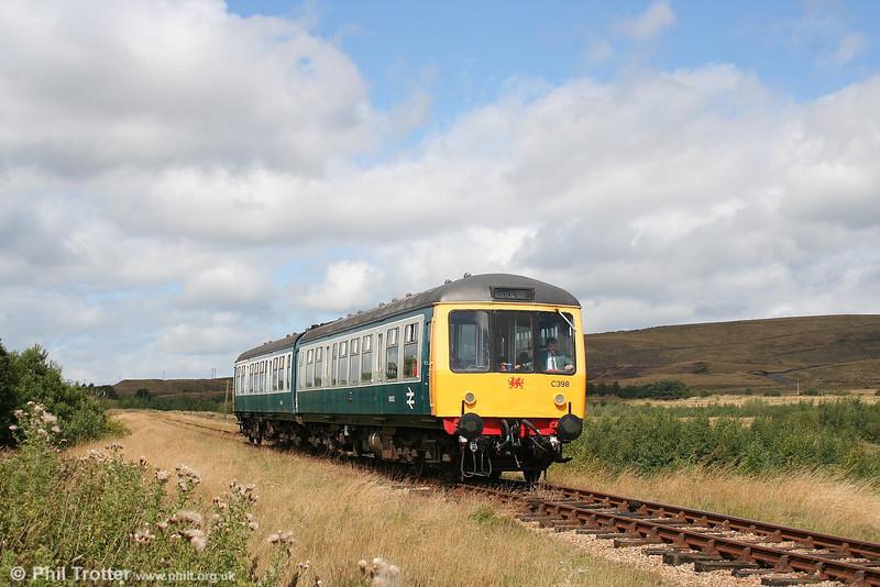 The Pontypool & Blaenavon Railway's class 108 dmu descends from Whistle Inn Halt to Furnace Sidings on 27th August 2006.