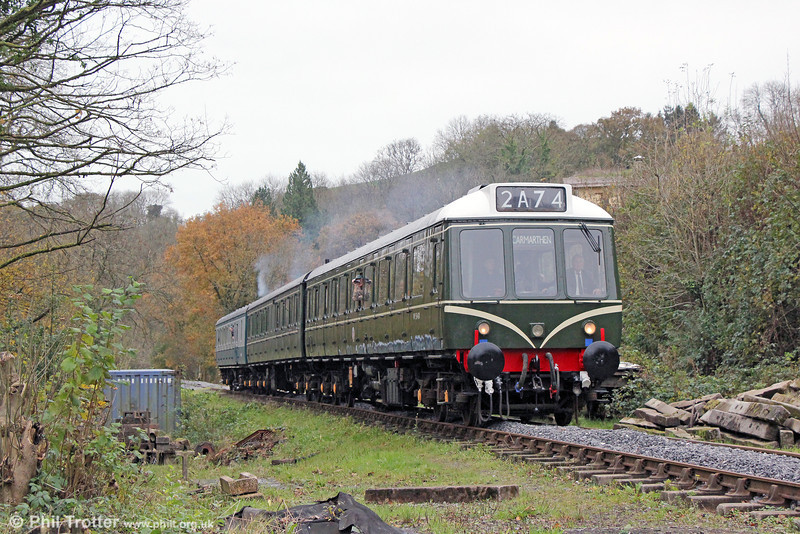 The Gwili Railway's class 117 dmu is being repainted into authentic 1960s green livery and very good it looks too. The unit is seen approaching Pontyfelin with the return members' special from Abergwili to Bronwydd Arms on 16th November 2013. The 'Carmarthen' destination display is now almost a reality!