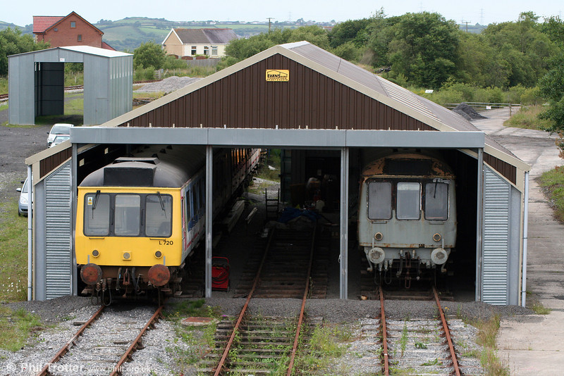 Another view of the L&MMR shed at Cynheidre on 11th July 2010 with class 117 DMBS 51354 (left) and class 107 DMC SC52029.