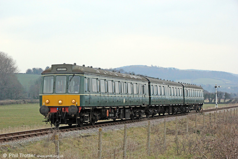 The WSR's class 115 near Blue Anchor forming the 1735 Minehead to Bishops Lydeard on 1st April 2013.