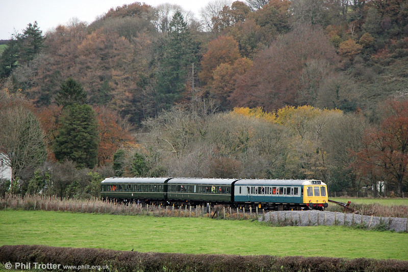 The Gwili Railway's class 117 dmu near Abergwili, Carmarthen with the 1300 members' special from Bronwydd Arms on 16th November, 2013.