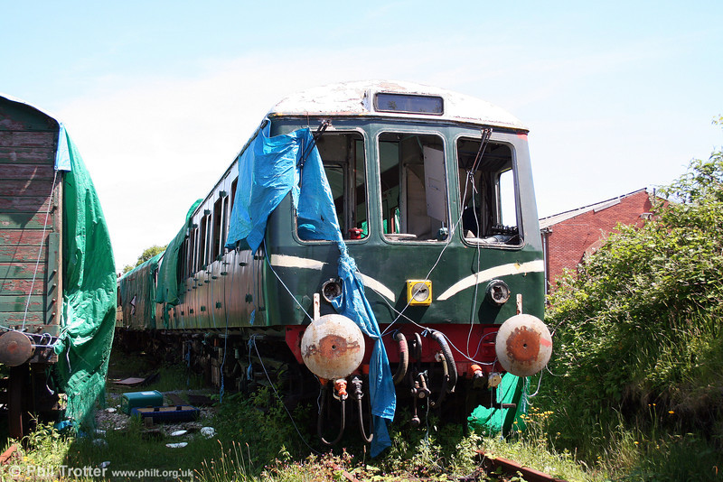 The neglected and vandalised class 116 DMBS no. 51135 at Upper Bank, Swansea Vale Railway on 8th June 2008.