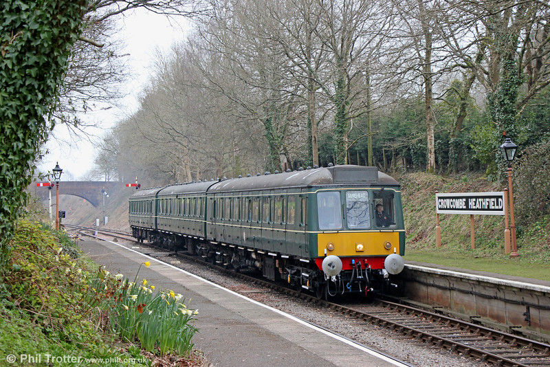 Looking more at home here than it did on the Birmingham Cross City Line, the WSR's Derby Class 115 dmu calls at Crowcombe Heathfield forming the 1140 Bishops Lydeard to Minehead on 1st April 2013. 41 of these high density sets were introduced from 1960 and initially worked on the Chiltern lines into London Marylebone.