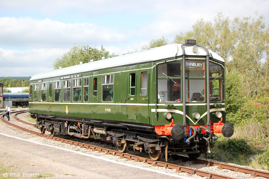 On loan from the Ecclesbourne Valley Railway, the immaculately restored (inside and out) Derby Lightweight single unit M79900 is seen at Lydney Junction, DFR on 18th September 2016.<br /> M79900 was built in 1956 and converted to a single car shortly after being built to allow it to operate on the branch line from Banbury to Bletchley and Buckingham. The Derby Lightweights met with huge success, starting a trend of greatly increasing passenger figures which most first generation diesel railcars continued. The livery was engine green, though a few survived long enough to be repainted in rail blue, but not 79900 which became a departmental unit for use as a test car for survey work, such as that for the Radio Electric Token Block (RETB) signalling system. <br /> At this time 79900 gained the name 'Iris' and was painted in the Research Division's red and blue livery and based at Derby RTC.