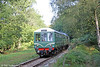 One of the Dean Forest Railway's Class 108 dmus departs from Parkend forming the 1105 to Lydney Junction on 18th September 2016.