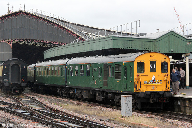 Preserved class 201 'Hastings' demu no. 1001 (201001) pauses for a crew change at Bristol Temple Meads with 1Z51, 0705 Hastings to Weston-super-Mare, the 'Channel Two' railtour on 7th July 2012.