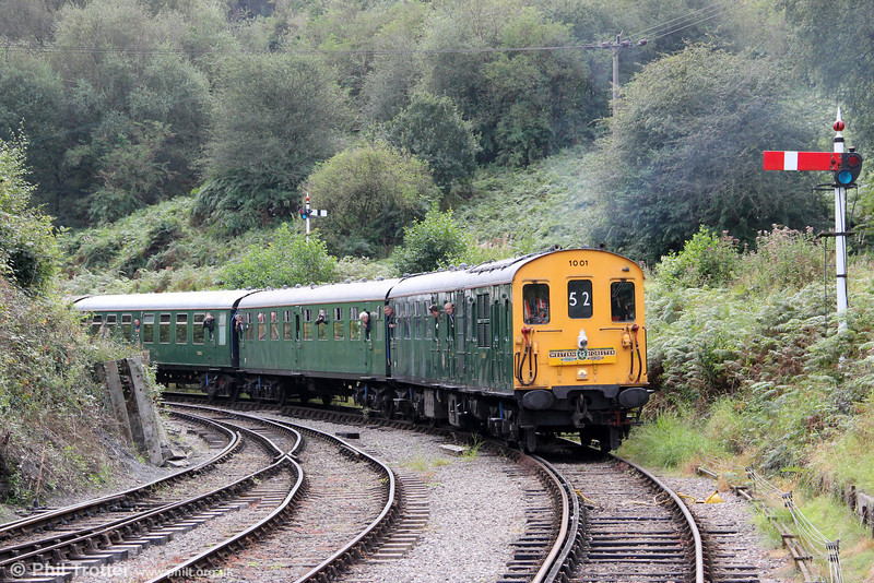 Preserved 'Hastings' demu no. 1001 approaches Norchard Low Level, DFR on 15th September 2012. The unit had earlier arrived at Lydney Junction forming 1Z52, 0705 from Hastings, 'The Western Forester' railtour.