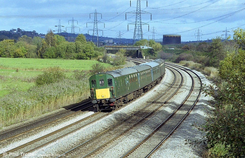 Preserved class 201 'Hastings' unit no. 1001 passes Duffryn, on the outskirts of Newport with the 0824 from Portsmouth Harbour to Cardiff rugby special on 6th November 1999.