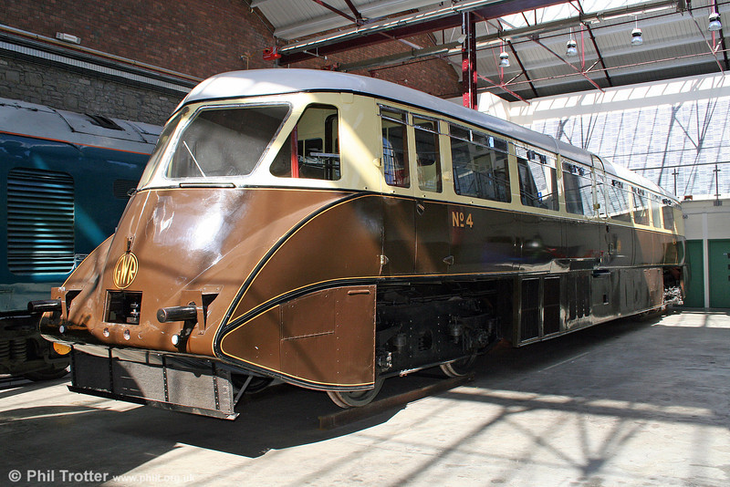 1934-built GWR AEC/Park Royal streamlined railcar no. 4 (later BR W4W) at the Museum of the Great Western Railway, Swindon on 28th August 2005.
