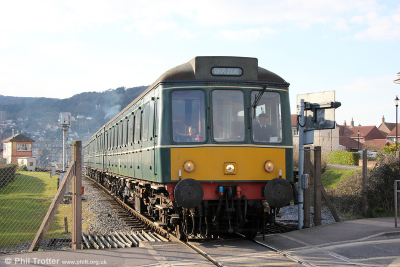 Last train of the day: The WSR's class 115 dmu departs from Minehead forming the 1735 to Bishops Lydeard on 31st March 2013.