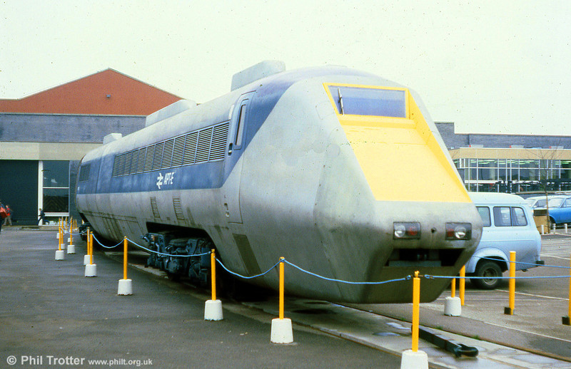 The APT-E (Advanced Passenger Train - Experimental) tilting train was the prototype Advanced Passenger Train unit. It made its first run in July 1972 and achieved a new British railway speed record when it hit 152.3mph while on test with the Western Region out of Paddington. When its period of testing was complete, in June 1976, it was sent to the National Railway Museum, York where it was photographed on 5th March 1980.