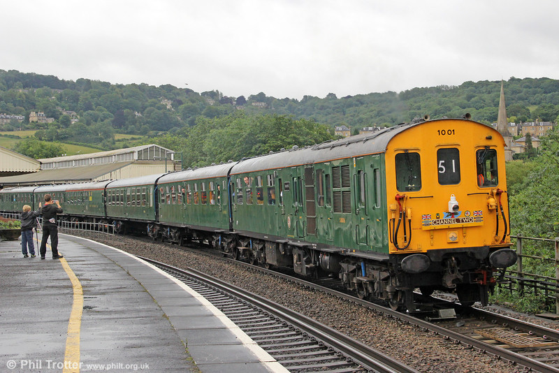 Preserved class 201 'Hastings' demu no. 1001 (201001) departs from Bath with 1Z51, 0705 Hastings to Weston-super-Mare, the 'Channel Two' railtour on 7th July 2012. DMBS 60116 'Mountfield' was leading on this section.