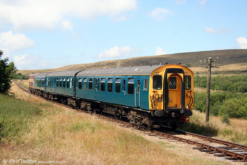 BR(SR) 3-Cep - or class 411 - no. 1198 heads for Furnace Sidings, Pontypool & Blaenavon Railway, on 26th July 2008. The unit was formerly at the Dartmoor Railway; power is provided by 73128.