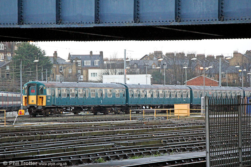 The Bluebell Railway's 4 Vep unit 3417 'Gordon Pettitt' at Clapham Junction shed on 16th January 2014. 3417 was one of 20  trains delivered after the electrification of the London Waterloo to Bournemouth route in 1967.