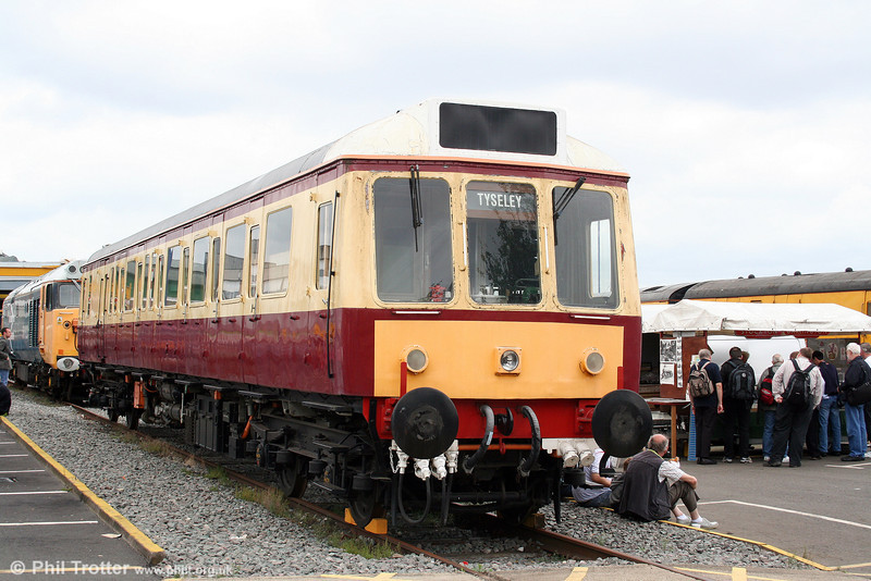 Privately owned class 121 no. 55034 is 'blood and custard' livery at Tyseley on 28th June 2008.