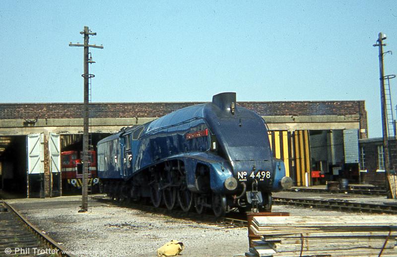 A4 4498 'Sir Nigel Gresley' at Steamtown, Carnforth in 1979.