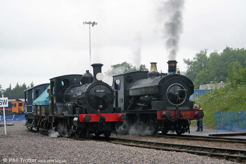 Beattie 2-4-0WT no. 30587 and Port Talbot Railway 0-6-0ST 813 side by side at the Cranmore 150 Quarry Gala Weekend, Merehead on 21st June 2008.
