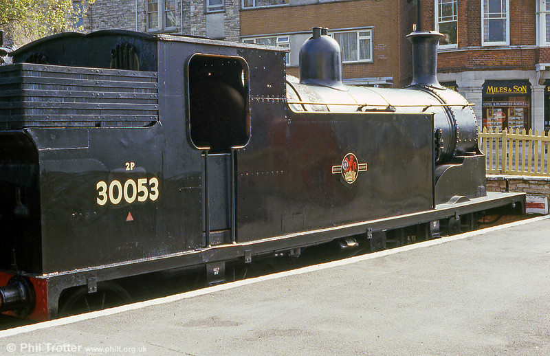 LSWR M7 0-4-4T no,30053 is seen at Swanage in June 1987, shortly after repatriation.