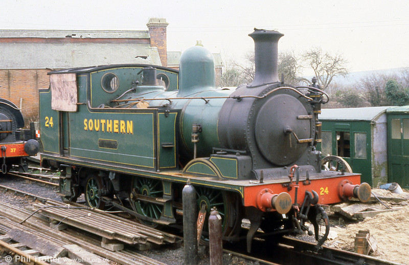 1891 LSWR class O2 0-4-4T no. 24 'Calbourne' awaiting overhaul at Havenstreet, Isle of Wight Railway on 8th March 1980.