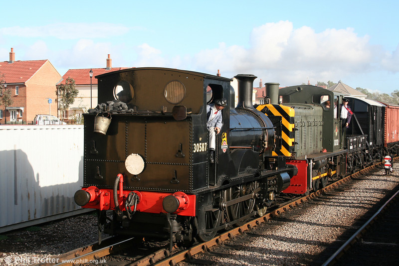 Beattie 2-4-0WT 30587 with class 03 no. D2133 at Minehead, West Somerset Railway, on 1st October 2005.
