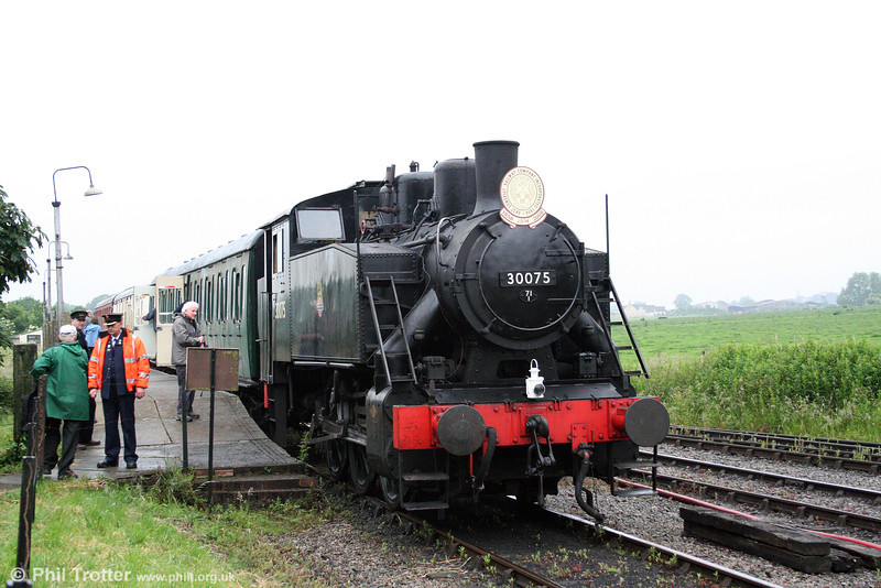 The East Somerset Railway's SR USA 0-6-0T lookalike, no. 30075 originated in Yugoslavia where it was built in 1960. The loco is seen at Cranmore West on 21st June 2008.