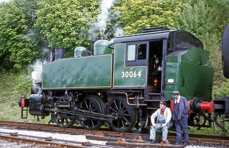 USA class 0-6-0T no. 30064, seen here at the Bluebell Railway, was built in 1943 for the US Army Transportation Corps. Thirteen were purchased by the Southern Railway in 1947.