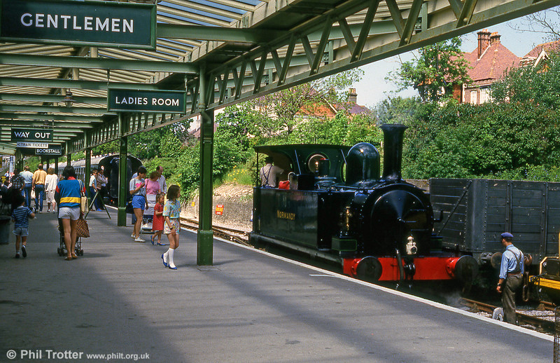 A summer scene at Swanage with SR class B4 0-4-0T 'Normandy' at the platform in June 1987.