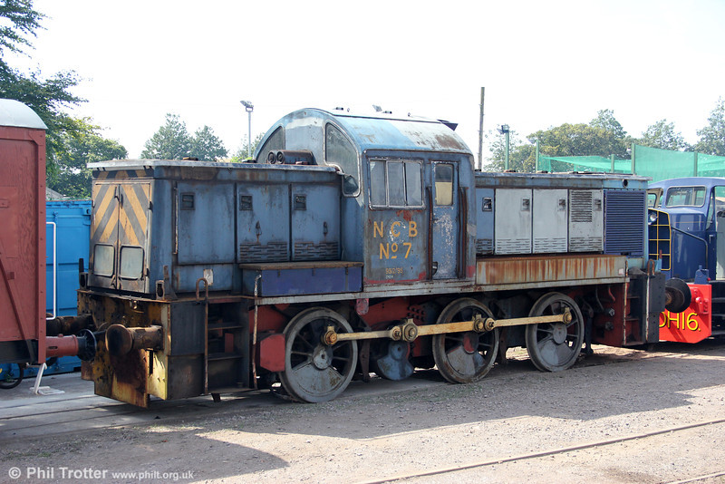 A recent arrival at the West Somerset Railway is former BR (WR) class 14 0-6-0DH no. D9518, previously used by the National Coal Board at Ashington (No. 7). The unrestored loco which has spent several years in store at other heritage lines, has never turned a wheel in preservation and is seen as a long term project - but at least it is safe! 21st July 2012.