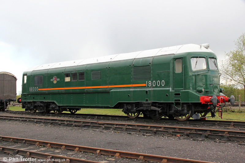 A third view of Brown, Boveri gas turbine locomotive no. 18000 on display at Didcot on 21st April 2012. During its time in service it received the nickname 'Kerosene Castle', something of a misnomer since it was designed to run on cheap heavy fuel oil of the type used in oil fired steam locomotives. 21st April 2012.