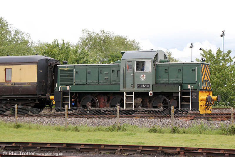 Didcot's newly acquired Class 14 no. D9516 on the running line on 24th May 2014.