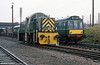 Class 14 0-6-0DH 'Teddy Bear' no. D9516 at Loughborough, Great Central Railway alongside the line's class 127 dmu.