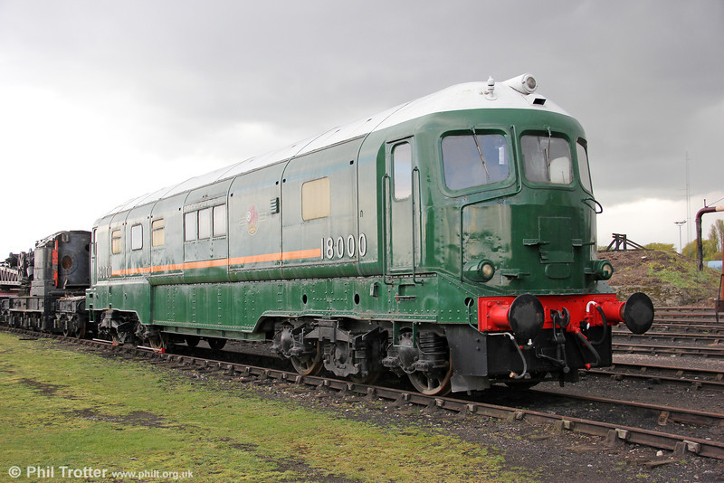 A unique survivor at Didcot Railway Centre is the BR prototype A1A-A1A 2500hp gas turbine locomotive no. 18000. It was built for British Railways in 1949 by Brown, Boveri et Cie of Switzerland. It had, however, been ordered by the Great Western Railway in 1940 but construction was delayed due to the effects of World War II. It spent its working life on the Western Region operating (with varying degrees of success) express passenger services from Paddington; it had a maximum speed of 90mph. 21st April 2012.