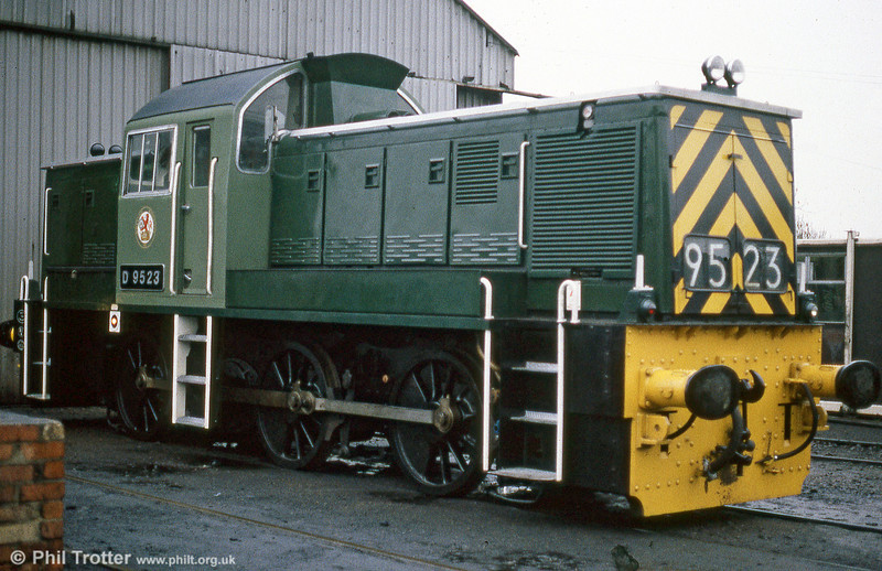 Class 14 no. D9523 at Loughborough, Great Central Railway in July 1984.
