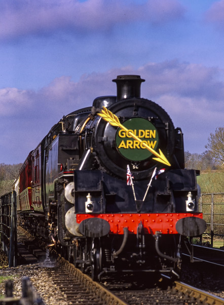 """Standard 4 Tank No. 80151 arriving at Sheffield Park, with a """"Golden Arrow"""" Dining Special, <br /> on 17th February 2002."""