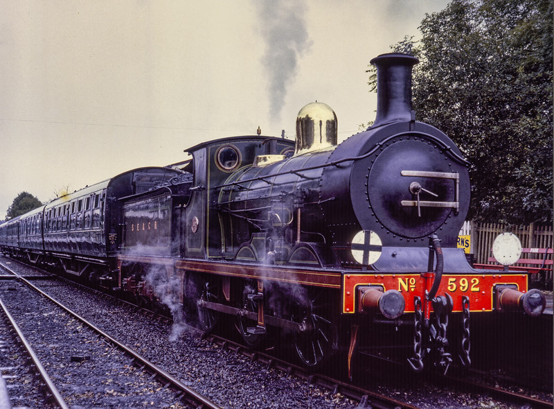 C class No. 592 waits to leave Sheffield Park, with the 11:40 service to Horsted Keynes, <br /> on 25th October 1981.