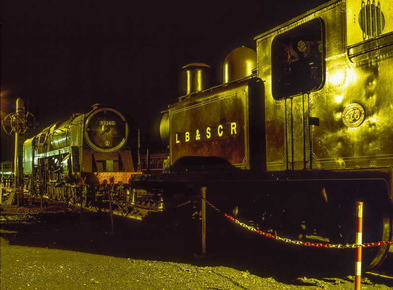 E4 class No. 473  and 9F No. 92240 under the yard lights at Sheffield Park,<br /> on 26th October 2002.