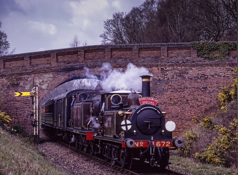 LB&SCR No. 672 and E4 class No. 473 at Caseford Bridge <br /> with the 13:32 Kingscote - Sheffield Park, on 12th April 2004.
